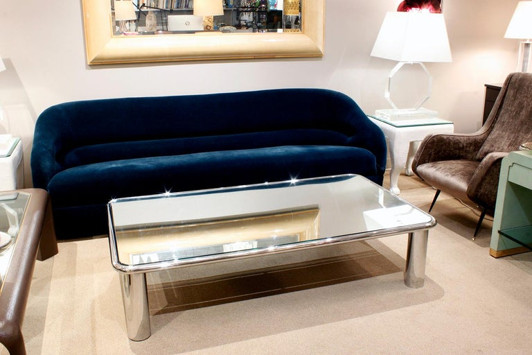 Hand-Crafted John Mascheroni Large Chrome Coffee Table with Mirror Glass Top, 1970s