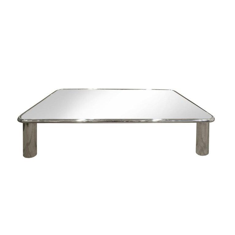 John Mascheroni Large Chrome Coffee Table with Mirror Glass Top, 1970s