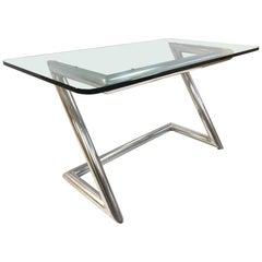 John Mascheroni Polished Aluminum and Glass Desk