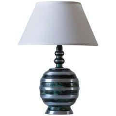 John Maurd, a Swedish Early Modernist Patinated & Polished Metal Table Lamp