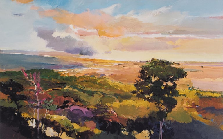 This limited edition print by California painter John Maxon features an impressionist-inspired landscape in the artist's characteristic palette of earth tones accentuated with splashes of purple, pink, and peach. Maxon's landscapes often depict the