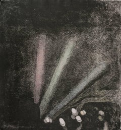 """In The Wake"", soft ground still-life print, violet black, red, green, blue."