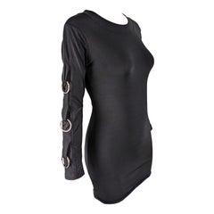 John McKitterick Vintage 1990s Black Bodycon O Ring Mini Dress
