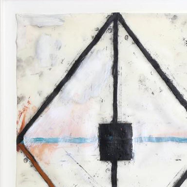 This is a mixed media oil painting, 'Untitled no. 40' on synthetic vellum by contemporary American artist John Millei. The work measures 14 x 11 inches and is displayed in a 20.5 x 17 inch white frame. It is signed  'JM' and dated in the lower right