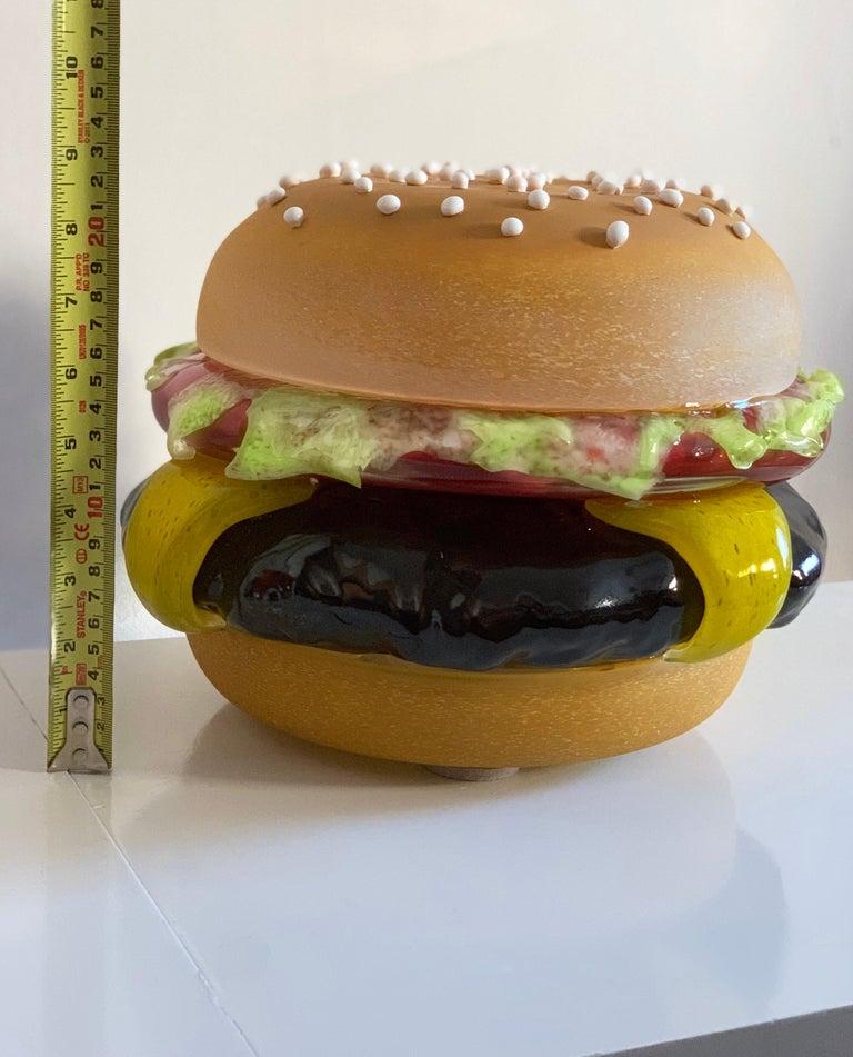 Contemporary John Miller Blue Plate Special Hamburger 2008 Blown Pop Art Glass Sculpture For Sale