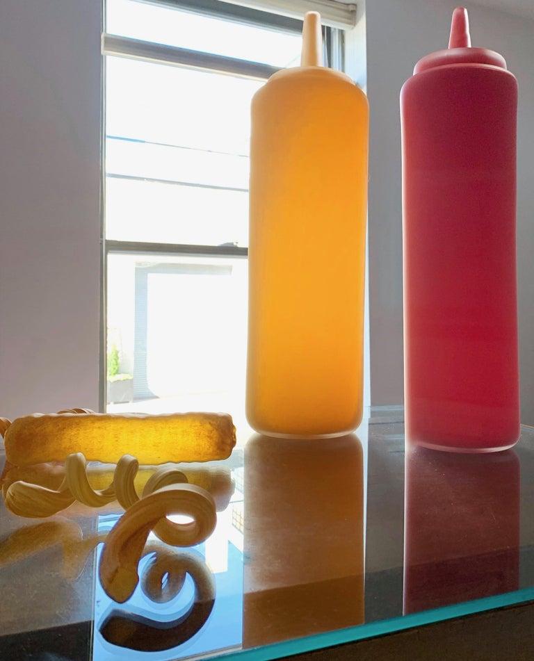 Post-Modern John Miller Blue Plate Special Ketchup Catsup 2008 Blown Pop Art Glass Sculpture For Sale
