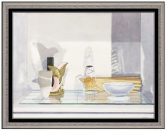 John Moore Original Watercolor Painting Still Life Signed Large Modern Artwork