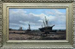 Ipswich Coastal Marine - British Victorian art oil painting beach boats sea