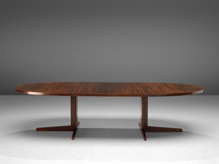 Mid-Century Modern John Mortensen 'HM55' Extendable Dining Table in Rosewood For Sale