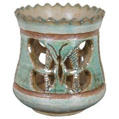 John Nartker Midcentury Ceramic Candleholder Pierced Butterfly Turquoise