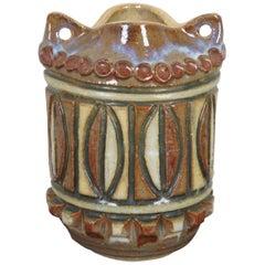 John Nartker Midcentury Ceramic Hanging Jar Vase Planter Brown Southwestern