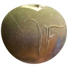 John Natale Signed Raku Fired Ceramic Pottery Vase Vessel