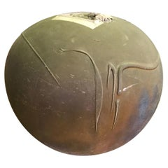 John Natale Signed Raku Fired Pottery Vase Vessel