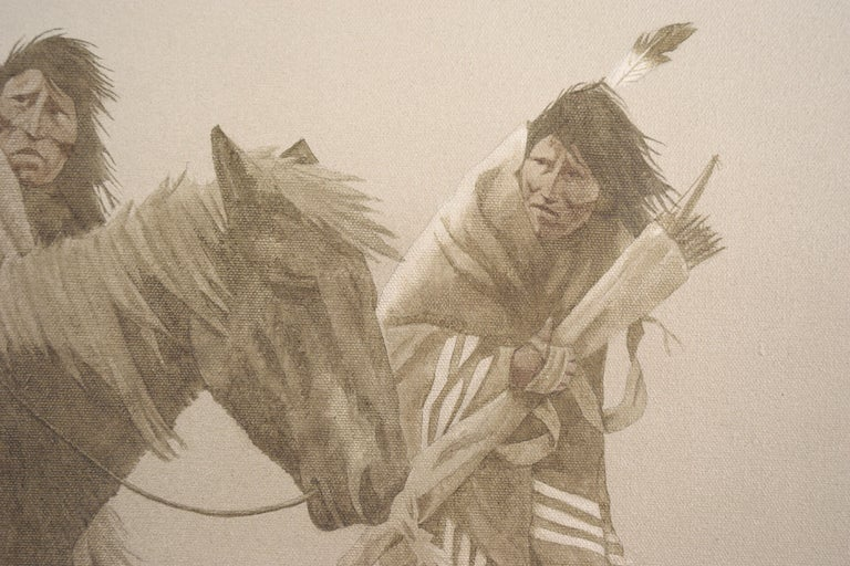 Somber depiction of Native Americans in winter by John Pace (American, 1930-2006). Signed