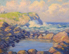 """Gull Pond and Blackhead, Monhegan,""John Haapanen, Impressionist oil, Maine"