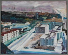 Aerial View of SF from Ocean Beach 1998 Oil Painting