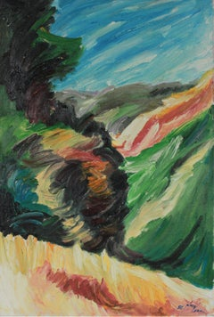 Expressionist California Hillside Landscape 1996 Oil Painting