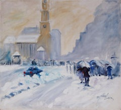 Expressionist Winter Scene 1999 Oil Painting