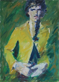 """Girl with Hands"" 2001 Oil Portrait Painting in Green"