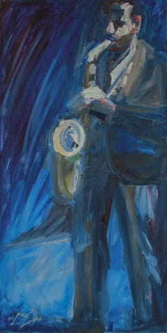 Standing Saxophone Player 2001 Oil Painting in Blue