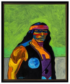 Apache IV John Nieto Acrylic Painting On Canvas