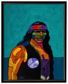 Apache I John Nieto Acrylic Painting On Canvas