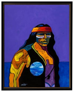 Apache III John Nieto Acrylic Painting On Canvas