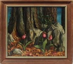Antique American Regionalist Forest Flower Landscape Modern Signed Oil Painting