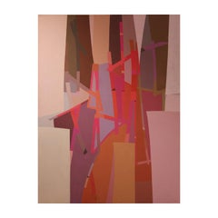 """Patacamaya"" Cubist Pink Large Abstract"