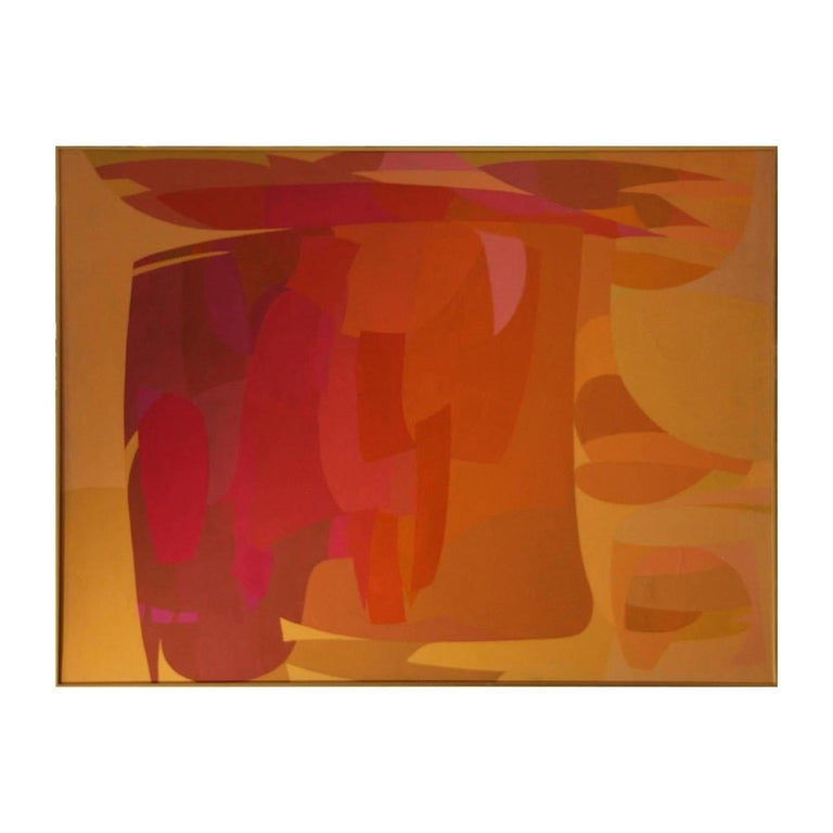 Large geometric warm tonal abstract expressionist painting by John O'Neil. The work is signed, titled, and dated by the artist. The canvas is framed in a metal gold frame. Dimensions Without Frame: H 35 in x W 47 in x D 1 in.  Artist Biography: John