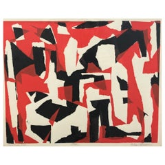 """John Otterson """"Broken Red"""" Abstract Serigraph, Signed & Numbered, Early 1950s"""