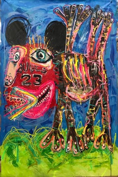 """BULLS"" Mixed media painting 80x54 inch by John Paul Fauves"