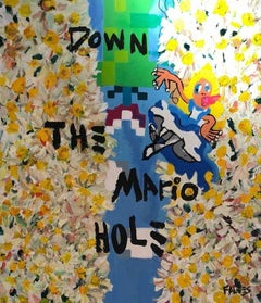 """Down The Mario Hole"" Mixed media Painting 55x47 inch by John Paul Fauves"