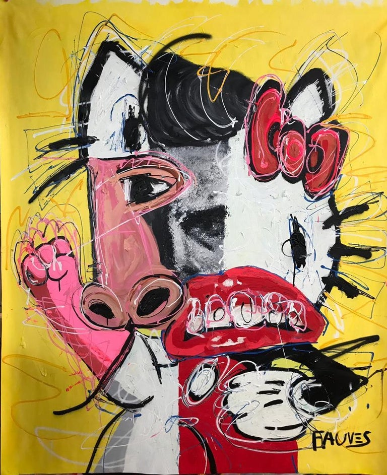 """""""Hello Dean"""" Mixed media Painting 67x54 inch by John Paul Fauves   From """"Alts iz farloyrn"""" (""""All is lost"""") series 2019 Mixed media, acrylic and oil on canvas  63"""" × 53"""" inch   """"Alts iz farloyrn"""" (""""All is lost"""") """"Alts iz Farloyrn"""" – the latest series"""