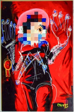 """Snow Red"" Mixed media painting 78x52inch. by John Paul Fauves"