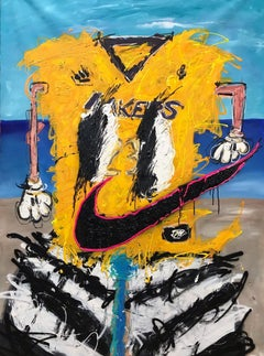 """Lakers"" mixed media painting 80x54 inch by John Paul Fauves"