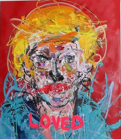 """LOVED"" Mixed media painting 36x30 inch by John Paul Fauves"