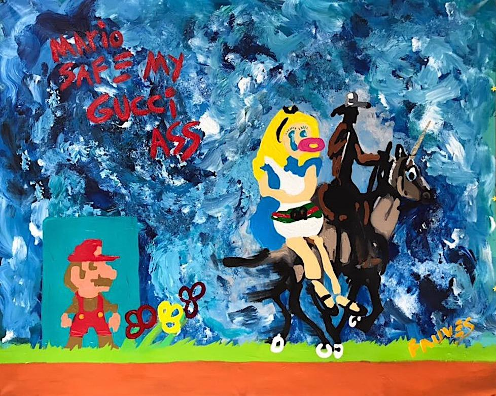 """""""Mario SAFE my GUCCI ass"""" Mixed media Painting 44x55 inch by John Paul Fauves"""