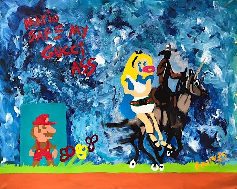 """""""Mario SAFE my GUCCI ass"""" Mixed media Painting 44x55 inch by John Paul Fauves   2017 Mixed media, acrylic and oil on canvas  44"""" × 55"""" inch   From GUCCI in Wonderland series GUCCI in Wonderland series contains two parts.  First one, GUCCI in"""