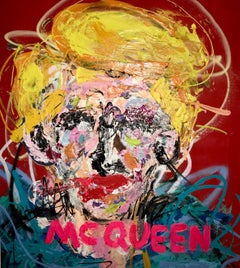 """McQueen"" Mixed media Painting 34x29 inch by John Paul Fauves"