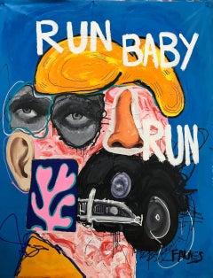 """""""RUN BABY, RUN"""" mixed media painting by John Paul Fauves"""