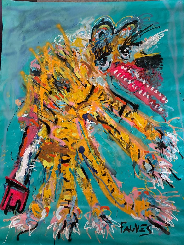 """""""Tiger Skin"""" mixed media painting 58""""x46 in by John Paul Fauves   2018   ABOUT John Paul FAUVES:  John Paul Fauves (born in 1980) is a contemporary Artist from Costa Rica . His artistic journey started at a very young age after he became a student"""