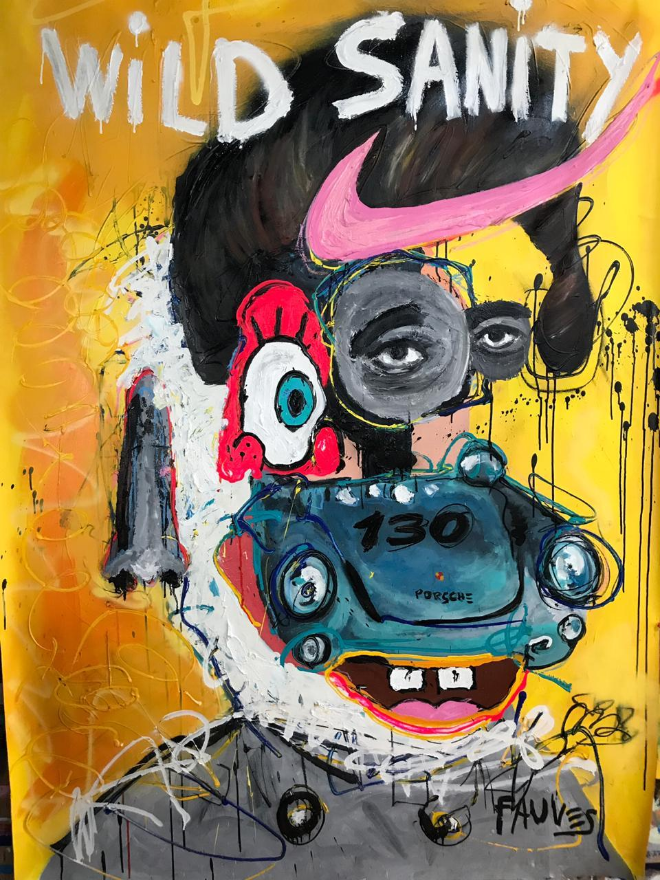 """""""Wild Sanity"""" Mixed media Painting 75x52 inch by John Paul Fauves"""