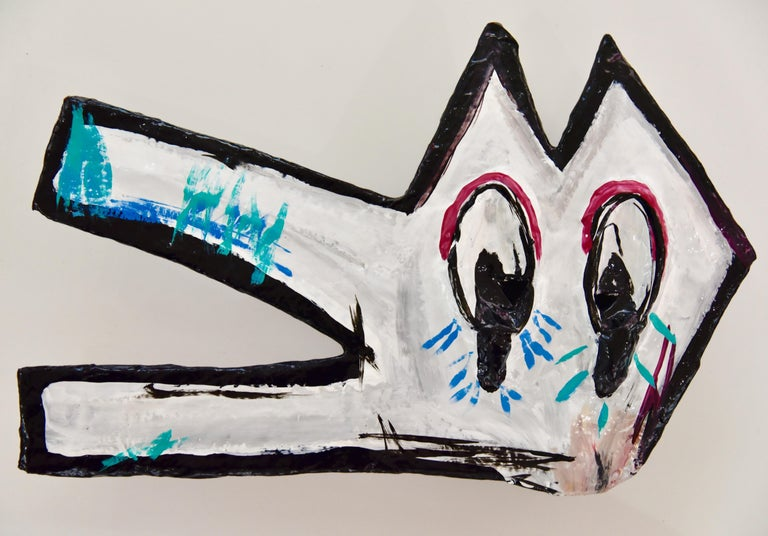One of a kind collectible mask by John Paul Fauves  Inspired by Keith Haring  Oil and acrylic paint over paper mache  ABOUT THE ARTIST:  John Paul Fauves (born in 1980) is a contemporary Artist from Costa Rica . His artistic journey started at a