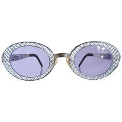 John Paul Gaultier 1990s Textured Blue Oval Fancy Sunglasses