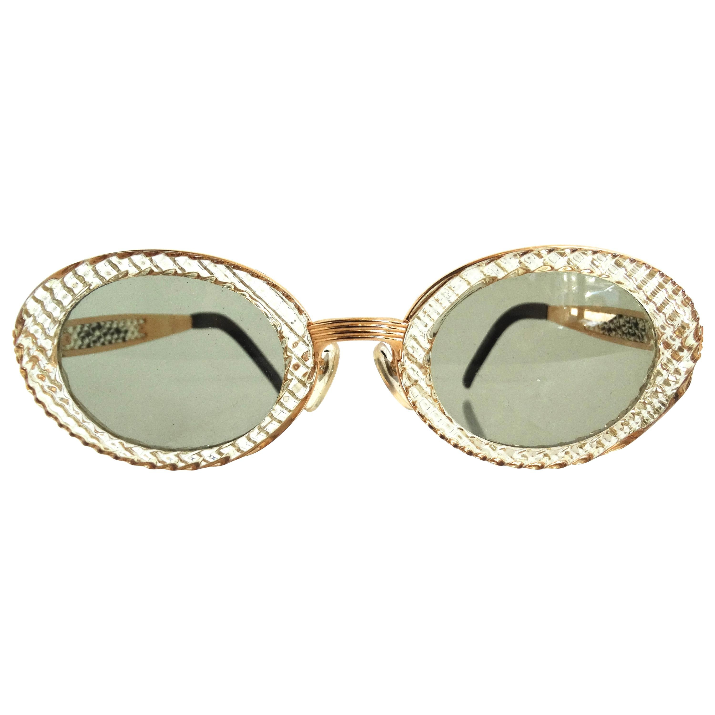 John Paul Gaultier 1990s Textured Oval Fancy Sunglasses