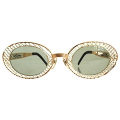 John Paul Gaultier 1990s Textured Oval Fancy Sunglasses