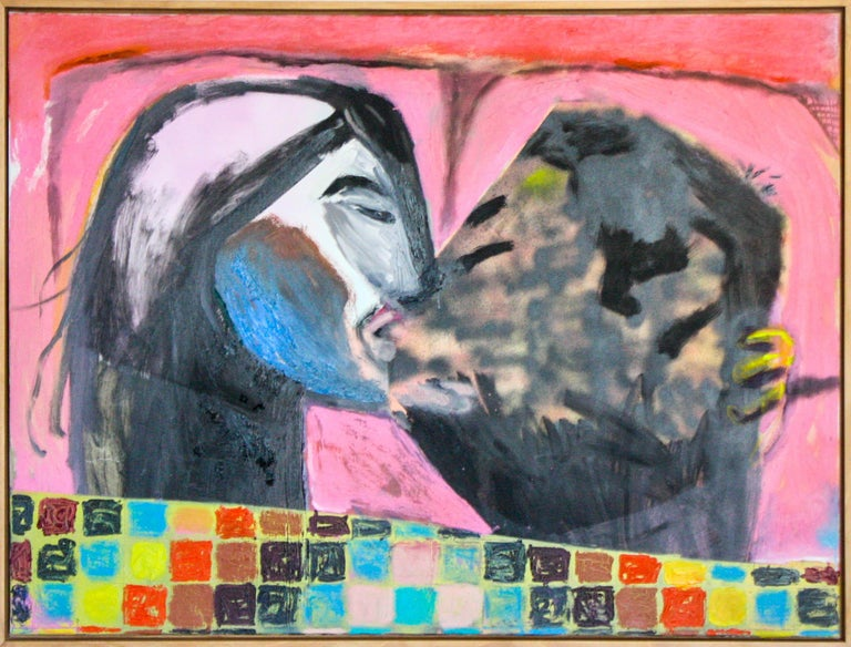John Paul Kesling Figurative Painting - Quilted Kiss