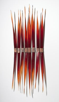 Fire and Water -  red, glass, copper,  translucent, abstract wall sculpture