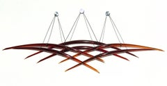 Probability R - red glass, copper, translucent abstract suspended wall sculpture